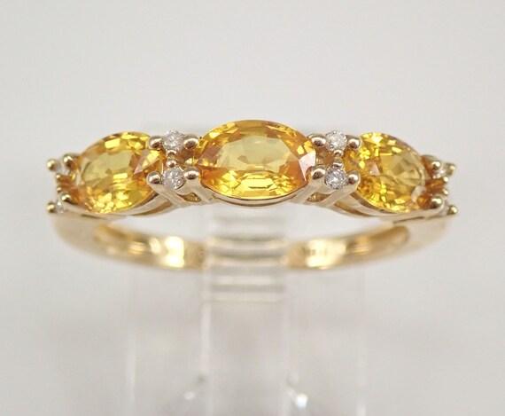 1.58 ct Diamond and Yellow Sapphire Wedding Ring Gold Anniversary Band Size 7 FREE SIZING