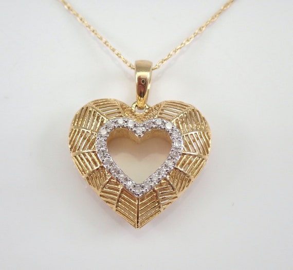 "14K Yellow Gold Diamond Heart Pendant Necklace 18"" Chain Great Birthday Gift"
