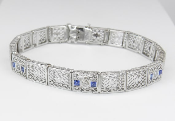 Diamond and Sapphire Bracelet Antique Bracelet Art Deco Bracelet 14K White Gold Circa 1920's