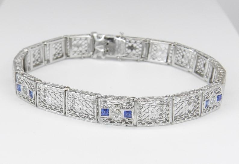 Diamond and Sapphire Bracelet Antique Bracelet Art Deco image 0