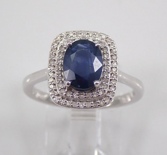 14K White Gold Diamond and Sapphire Double Cushion Halo Engagement Ring Size 7 September Birthstone