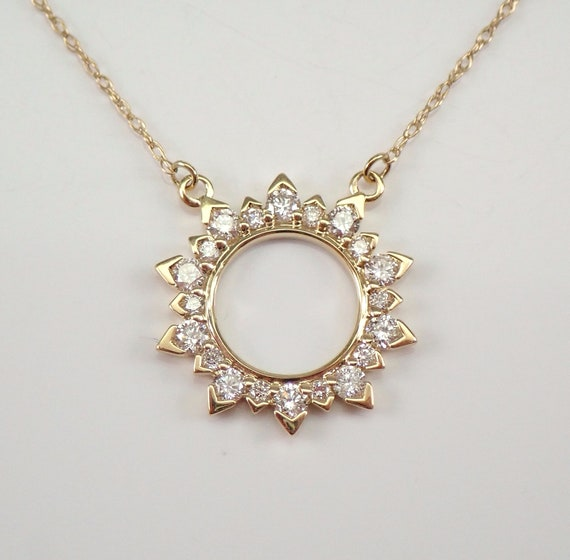 """Yellow Gold Diamond Sun Starburst Pendant Cluster Necklace 16.5"""" Chain PERFECT GIFT"""