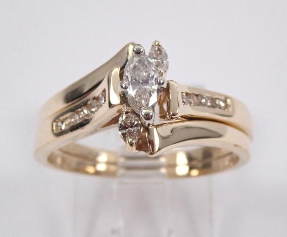 14K Yellow Gold Marquise Diamond Engagement Ring Contour Wedding Band Size 7.25
