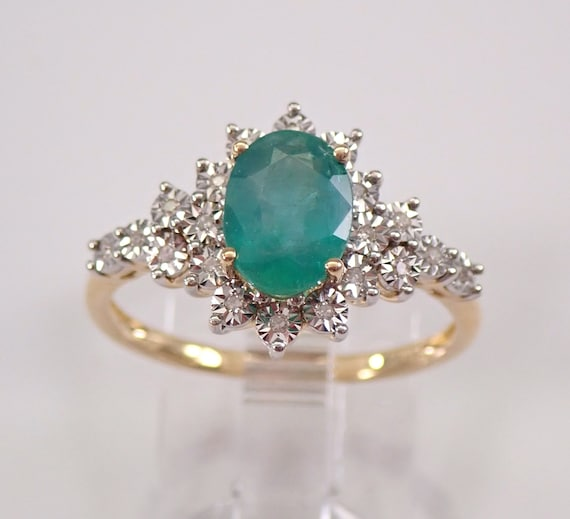14K Yellow Gold Diamond and Emerald Halo Engagement Ring May Gemstone Size 7 FREE Sizing