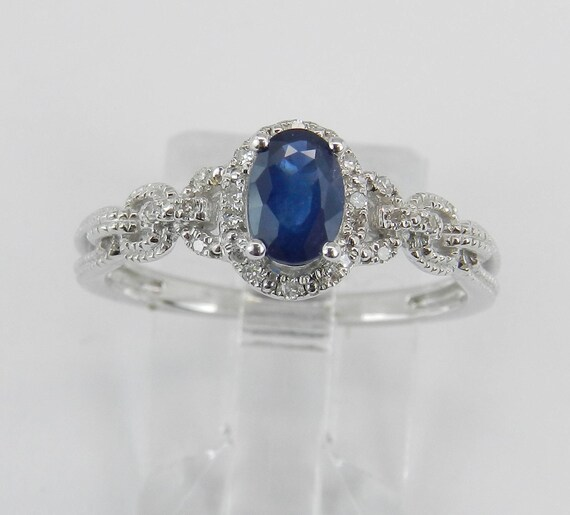Diamond and Sapphire Halo Engagement Ring 14K White Gold Size 7 September Gem