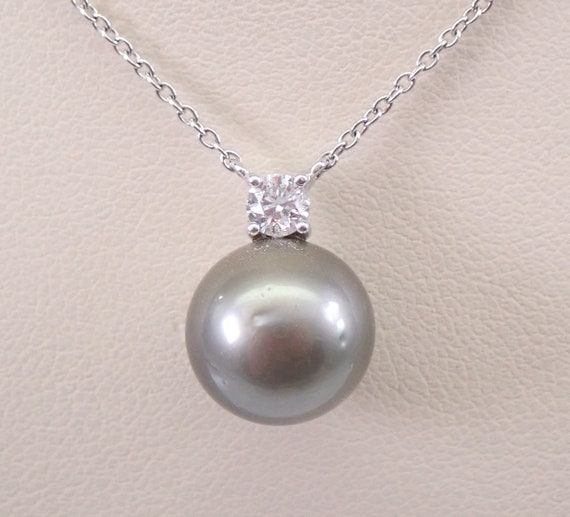 "14K White Gold Diamond and Black Tahitian Pearl Pendant Necklace Chain 17.5"" June Birthday"