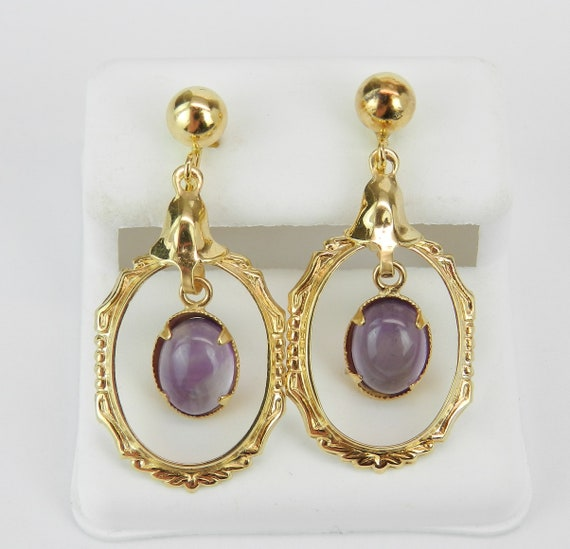 Antique Vintage 14K Yellow Gold Amethyst Screw Back Unpierced Dangle Earrings