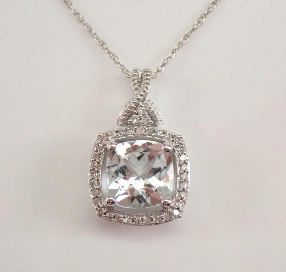 "Cushion Cut Aquamarine and Diamond Halo Pendant White Gold Necklace 18"" Chain March Birthstone"