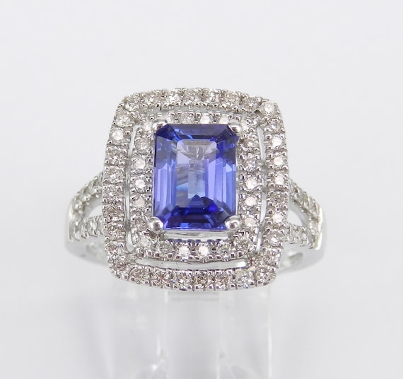 14K White Gold 2.75 ct Diamond and Emerald Cut Tanzanite Double Halo Engagement Ring Size 7.25