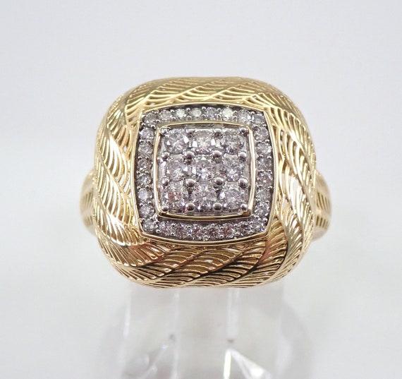 Yellow Gold Diamond Cluster Ring Weaved Design Cushion Shape Size 7 FREE SIZING