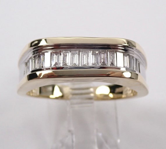 Mens Diamond Band, Two Tone Ring, Baguette Diamond Wedding Ring, Mens Anniversary Band, Size 10