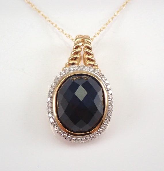 "Diamond and Onyx Halo Pendant Enhancer Necklace 14K Yellow Gold 18"" Chain"