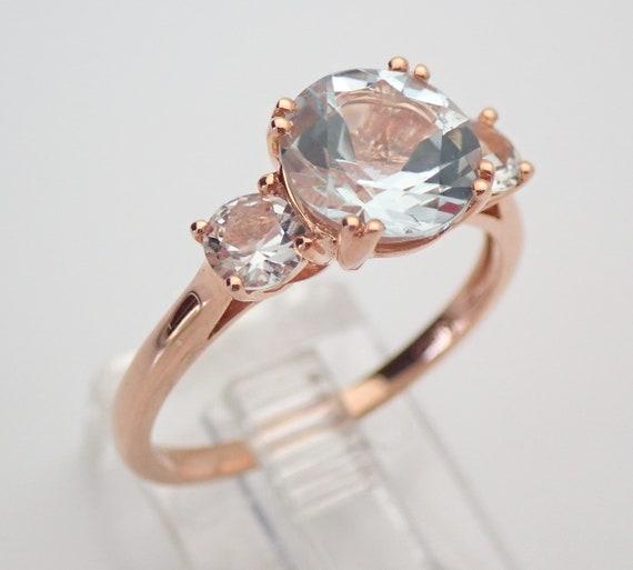 Three Stone Aquamarine and White Topaz Engagement Ring Rose Gold Aqua Size 7 March Gemstone