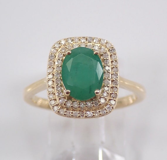 Emerald and Diamond Halo Engagement Ring 14K Yellow Gold Size 7 May Birthstone Ring, Emerald Ring