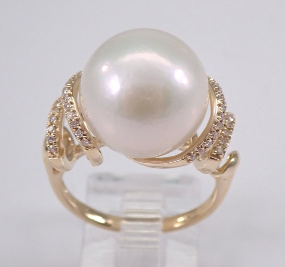 14K Yellow Gold 13.5 mm Pearl and Diamond Engagement Ring Promise Ring Size 6.75 June Birthstone