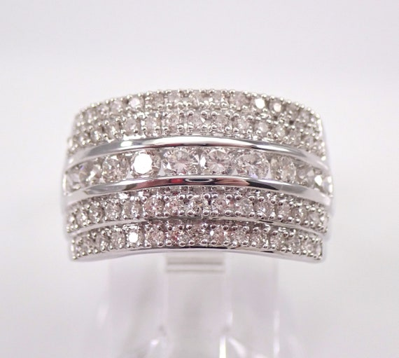 Wide 1.00 ct Diamond Wedding Ring Anniversary Cigar Band 14K White Gold Size 7 FREE Sizing