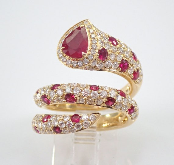 18K Yellow Gold 3.42 ct Diamond and Ruby Wrap Around Snake Ring Size 6.5 July Gemstone