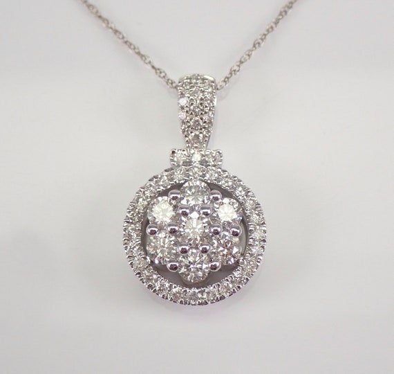 White Gold 1.00 ct Diamond Cluster Halo Pendant Wedding Necklace Chain 18""