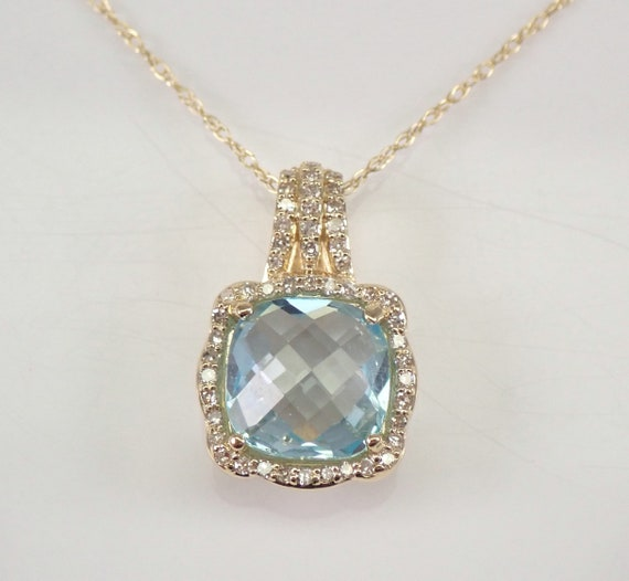 "Diamond and Cushion Cut Blue Topaz Halo Pendant Necklace 14K Yellow Gold 18"" Chain December Birthstone"