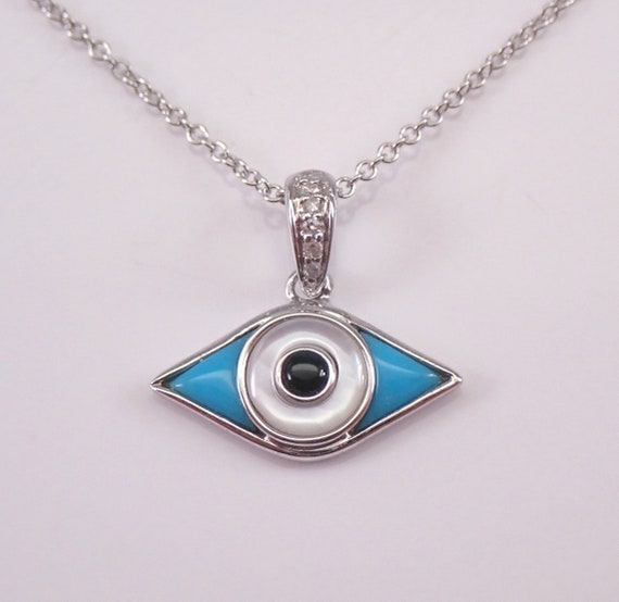 "Diamond Onyx Turquoise MOP Evil Eye Pendant Necklace 14K White Gold 18"" Chain Good Luck Charm"