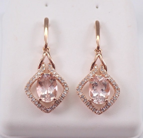 Morganite and Diamond Dangle Drop Earrings Rose Gold Unique Gemstone Gift