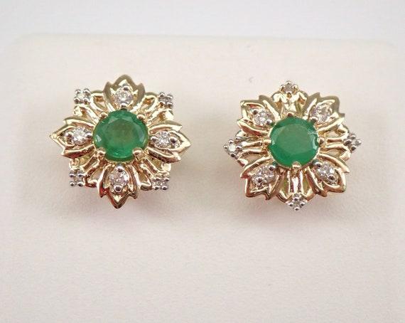 Yellow Gold Emerald and Diamond Stud Earrings Snowflake Studs May Gemstone