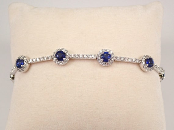"14K White Gold 6.72 ct Sapphire and Diamond Halo Tennis Bracelet 7"" September Gemstone"