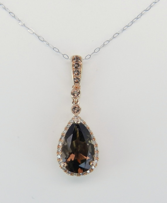 "Smokey Topaz and Diamond Drop Halo Pendant Necklace Chain 18"" White Pink Rose Gold"