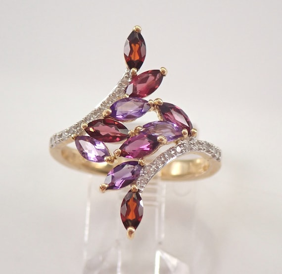 Amethyst Garnet and Diamond Cluster Ring Yellow Gold Size 7 Index Middle Finger Ring