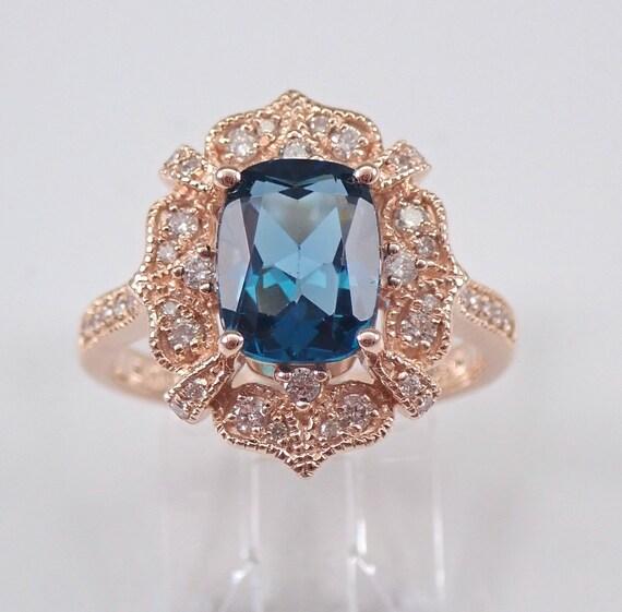 London Blue Topaz and Diamond Engagement Ring Cushion-Cut 14K Rose Gold Size 6.75 December Birthstone
