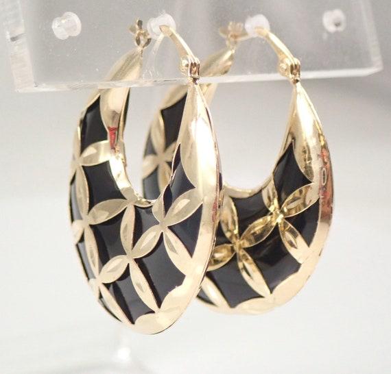 Yellow Gold Black Onyx Hoop Earrings Unique Hoops Gypsy Style Earrings