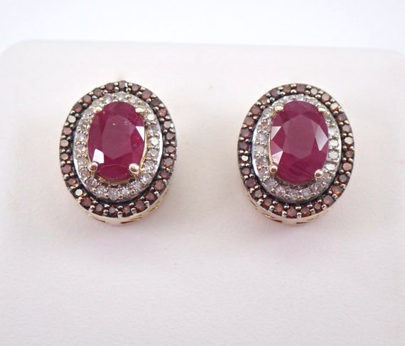Fancy Orange Diamond and Ruby Halo Earrings Halo Studs Yellow Gold July Birthstone
