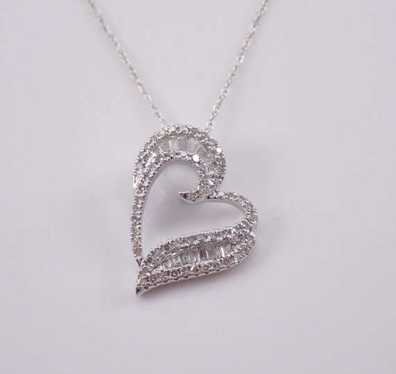 "Baguette and Round Diamond Heart Pendant Necklace 14K White Gold Chain 18"" Love Gift"