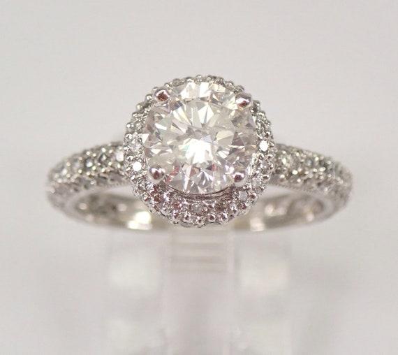 PLATINUM 2.61 ct Genuine Natural Brilliant Halo Diamond Engagement Ring Pave Set Size 6.5