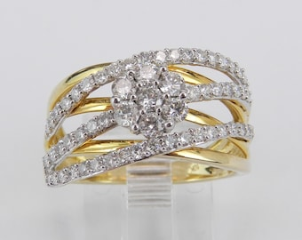 Yellow Gold 1.00ct Diamond Cluster Ring Multi Row Anniversary Band Size 7 Modern