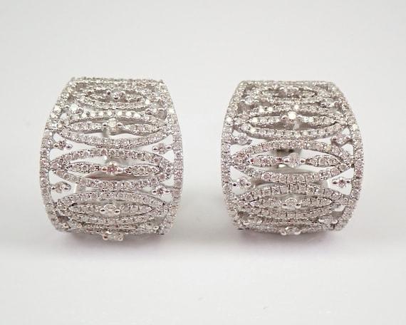 18K White Gold 2.31 ct Diamond Cluster Half Hoop Earrings Omega Clasp