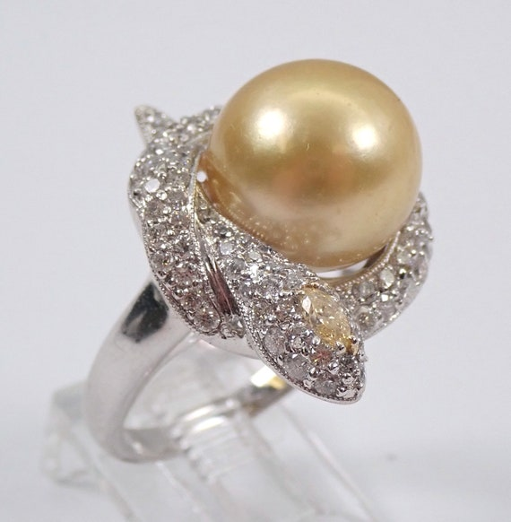 18K White Gold Diamond and Golden South Sea Pearl SNAKE Engagement Ring Size 7 June Birthstone