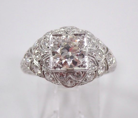Antique Art Deco 1.55 ct Platinum Diamond Engagement Ring Old Miner Size 6.5