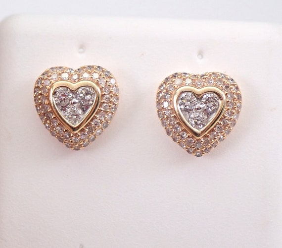 14K Rose Gold Diamond Heart Stud Earrings Cluster Studs Unique Wedding Gift