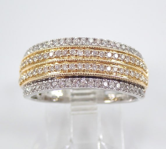 Diamond Anniversary Band Wedding Ring 14K White Yellow Gold Size 7 Stackable FREE Sizing