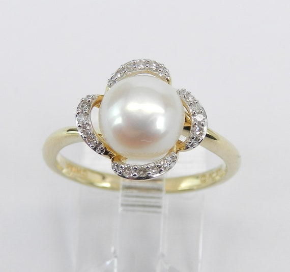 Diamond and Pearl Engagement Ring Promise Ring 14K Yellow Gold Size 6.75 June Birthstone FREE Sizing