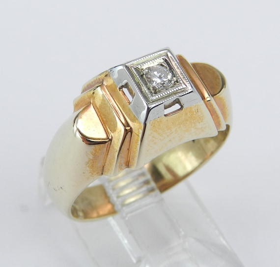 Diamond Solitaire Ring, Antique Ring, Vintage Ring, Handmade Estate Ring, Real Yellow Gold Pinky Ring, Size 6.5