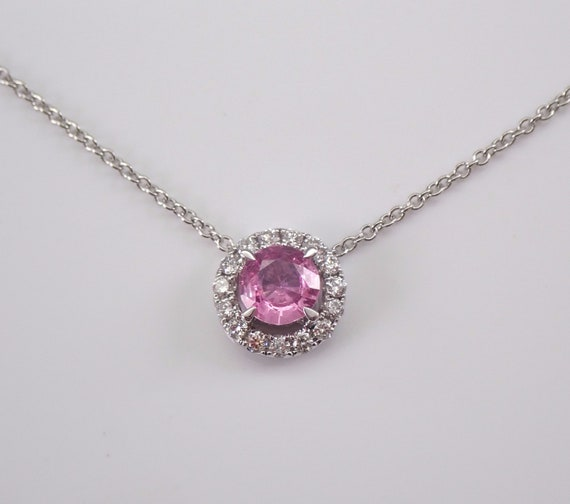 "Diamond and Pink Sapphire Halo Necklace 14K White Gold Pendant 18"" Chain Wedding"