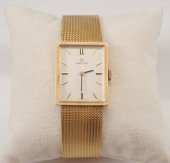 "Vintage OMEGA 14K Yellow Gold Unisex Mens Watch Mechanical Movement 7"" Bracelet"