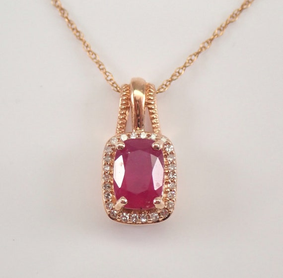 """Rose Gold Diamond and Cushion Cut Ruby Halo Pendant Necklace 18"""" Chain July Birthstone"""