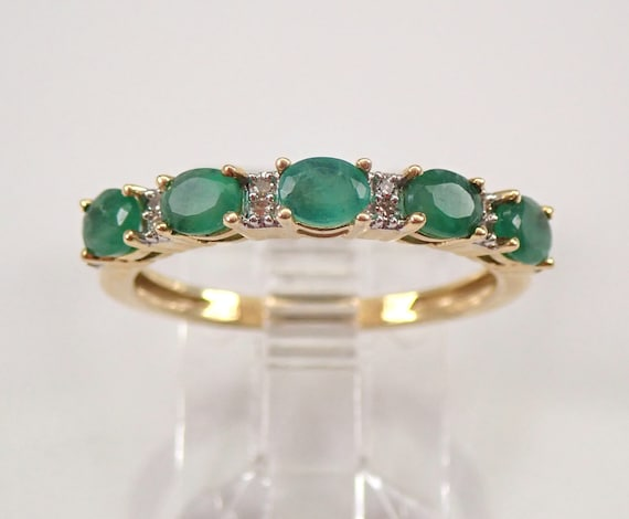 Diamond and Emerald Wedding Ring Anniversary Band Yellow Gold Size 7 May Gem