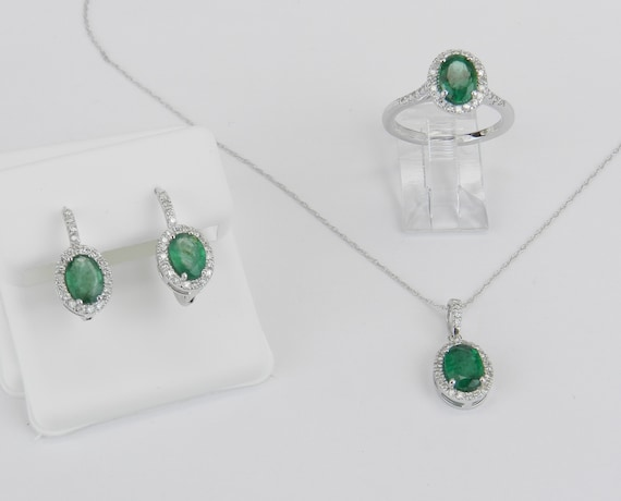 14K White Gold Diamond and Emerald Pendant Necklace Earrings Ring Set Halo Design May Gemstone
