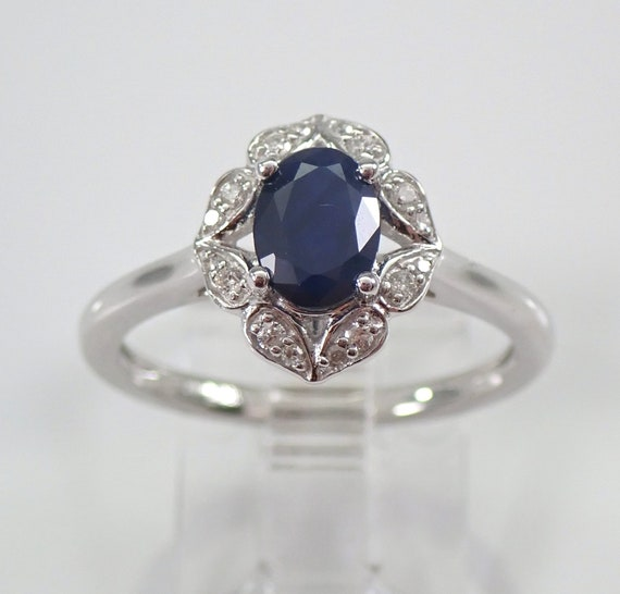 Diamond and Sapphire Halo Engagement Ring White Gold Size 7 September Birthday
