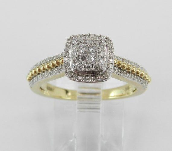 Yellow Gold Diamond Engagement Ring Cluster Cocktail Size 7