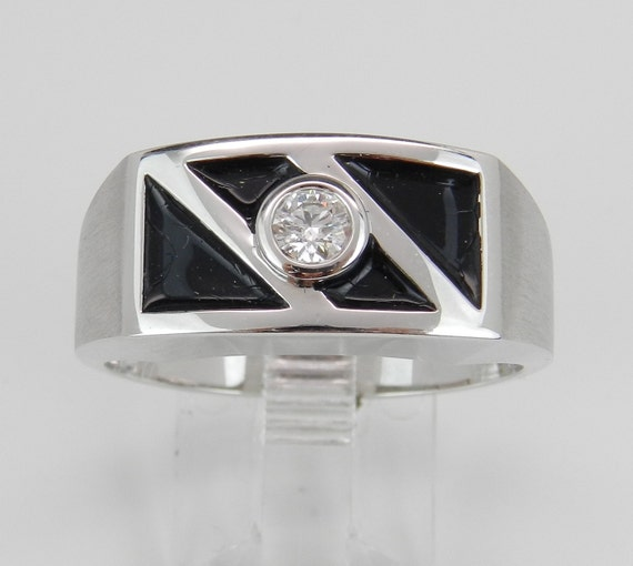 Unisex Diamond Solitaire Engagement Anniversary Band Black Enamel Wedding Ring White Gold Size 10.75